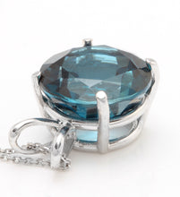 Load image into Gallery viewer, 9.35 Carat Natural London Blue Topaz 14K Solid White Gold Pendant with Chain