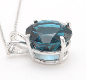 9.35 Carat Natural London Blue Topaz 14K Solid White Gold Pendant with Chain