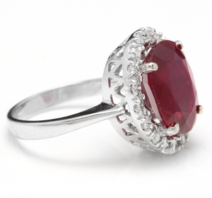 8.80 Carats Impressive Natural Red Ruby and Diamond 14K White Gold Ring
