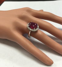 Load image into Gallery viewer, 8.80 Carats Impressive Natural Red Ruby and Diamond 14K White Gold Ring