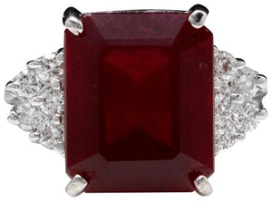 13.00 Carats Impressive Natural Red Ruby and Diamond 14K White Gold Ring