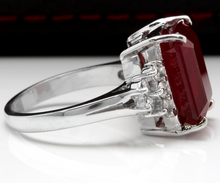 Load image into Gallery viewer, 13.00 Carats Impressive Natural Red Ruby and Diamond 14K White Gold Ring
