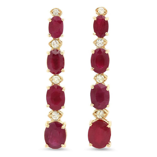 Exquisite 7.30 Carats Natural Red Ruby and Diamond 14K Solid Yellow Gold Earrings