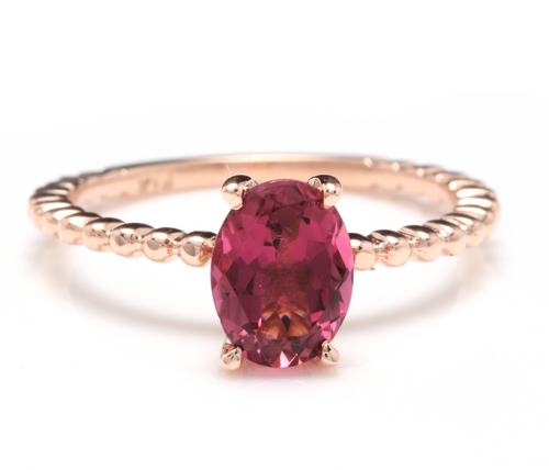 1.40 Carats Exquisite Natural Tourmaline 14K Solid Rose Gold Ring