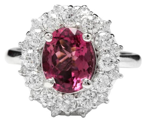 3.95 Carats Natural Very Nice Looking Pink Tourmaline and Diamond 14K Solid White Gold Ring