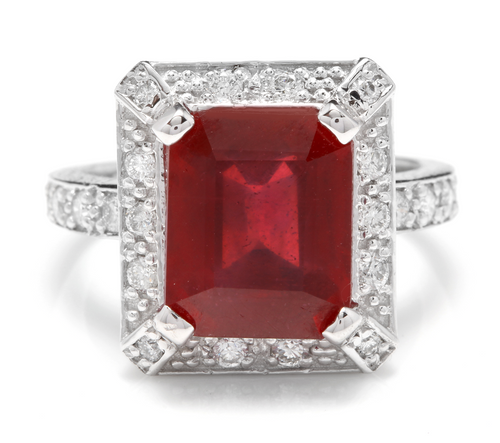 8.05 Carats Impressive Natural Red Ruby and Diamond 14K White Gold Ring