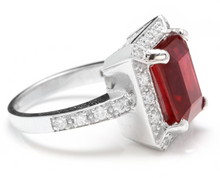 Load image into Gallery viewer, 8.05 Carats Impressive Natural Red Ruby and Diamond 14K White Gold Ring