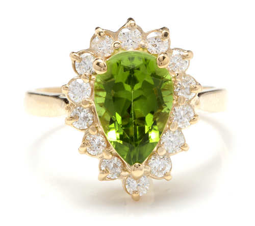 3.20 Carats Natural Very Nice Looking Peridot and Diamond 14K Solid Yellow Gold Ring
