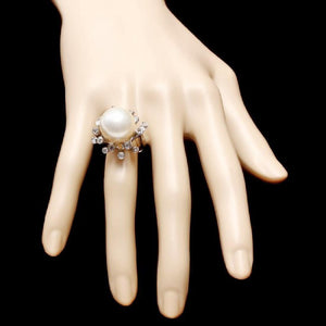 Splendid Natural 15mm South Sea Pearl and Diamond 14K Solid White Gold Ring