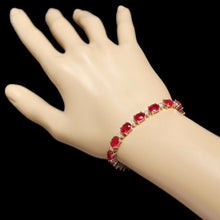 Load image into Gallery viewer, Very Impressive 26.90 Carats Natural Red Ruby & Diamond 14K Solid Yellow Gold Bracelet