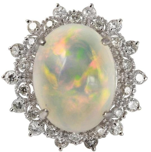 6.73 Carats Natural Impressive Ethiopian Opal and Diamond 14K Solid White Gold Ring