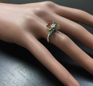1.75 Carats Exquisite Natural Multi-Color Sapphire and Diamond 14K Solid White Gold Ring