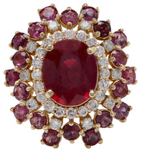 Load image into Gallery viewer, 9.57 Carats Impressive Natural Red Ruby and Diamond 14K Yellow Gold Ring