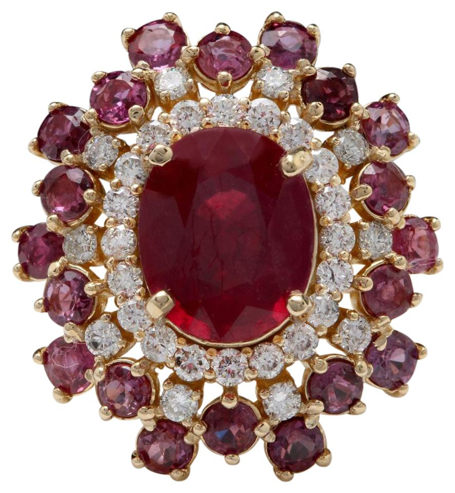 9.57 Carats Impressive Natural Red Ruby and Diamond 14K Yellow Gold Ring
