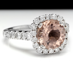 3.85 Carats Exquisite Natural Morganite and Diamond 14K Solid White Gold Ring