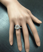 Load image into Gallery viewer, 3.85 Carats Exquisite Natural Morganite and Diamond 14K Solid White Gold Ring