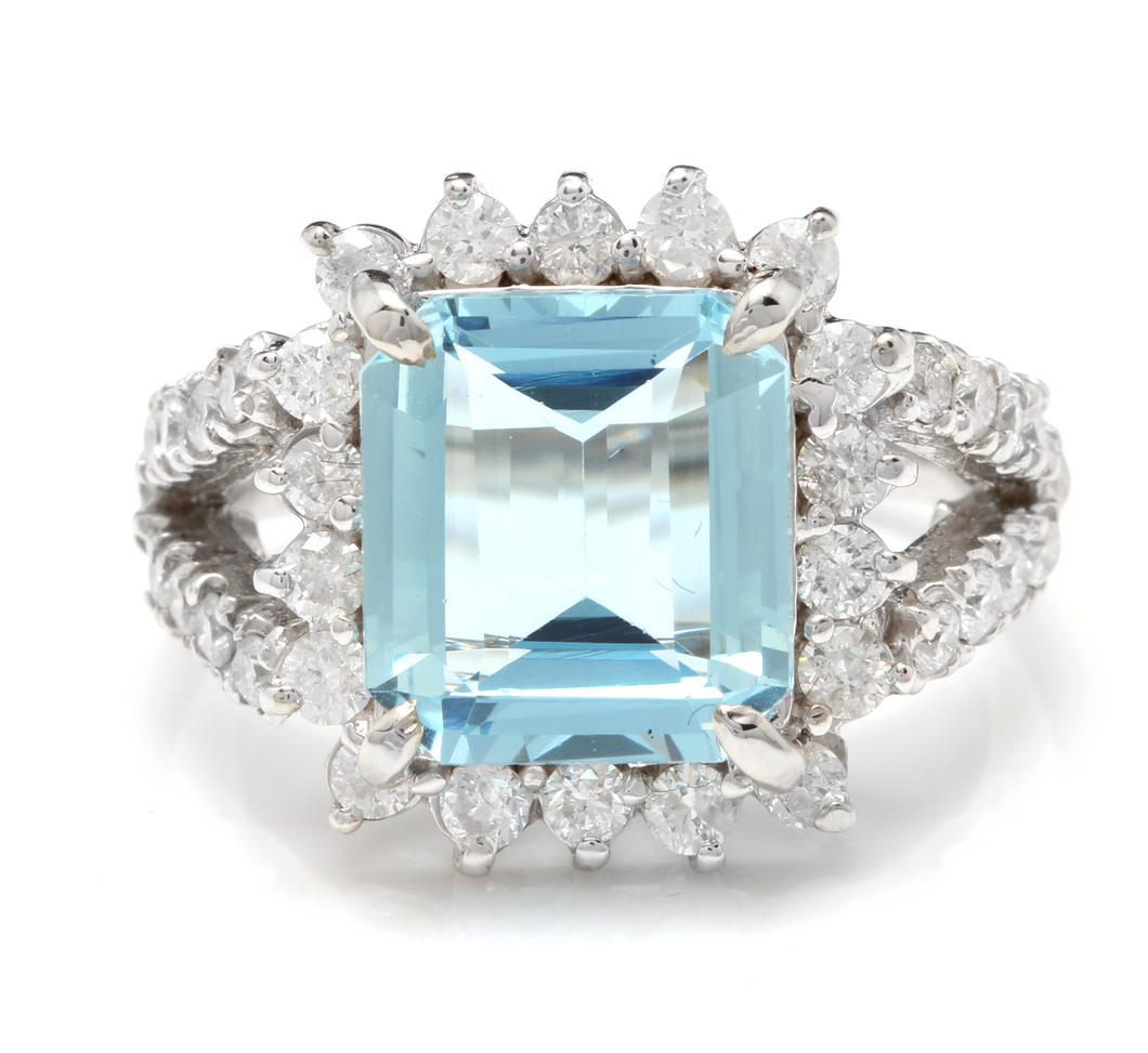 5.50 Carats Natural Aquamarine and Diamond 14K Solid White Gold Ring