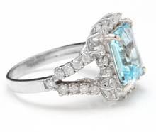 Load image into Gallery viewer, 5.50 Carats Natural Aquamarine and Diamond 14K Solid White Gold Ring