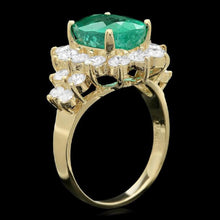 Load image into Gallery viewer, 5.90 Carats Natural Emerald and Diamond 14K Solid Yellow Gold Ring
