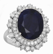 Load image into Gallery viewer, 13.95 Carats Exquisite Natural Blue Sapphire and Diamond 14K Solid White Gold Ring