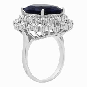 13.95 Carats Exquisite Natural Blue Sapphire and Diamond 14K Solid White Gold Ring