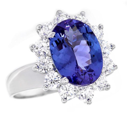 4.45 Carats Natural Very Nice Looking Tanzanite and Diamond 14K Solid White Gold Ring