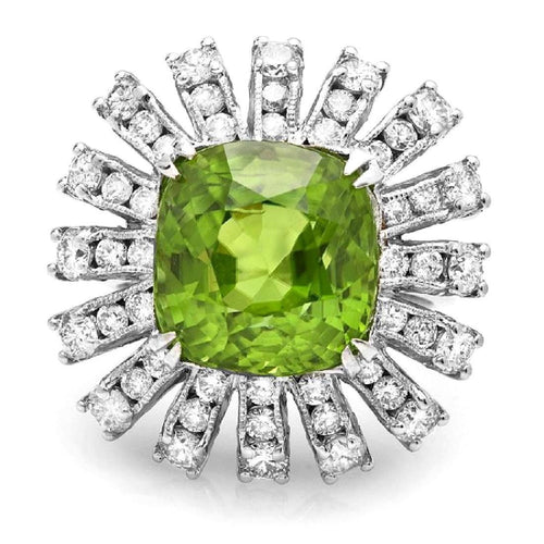 13.10 Carats Natural Very Nice Looking Peridot and Diamond 14K Solid White Gold Ring