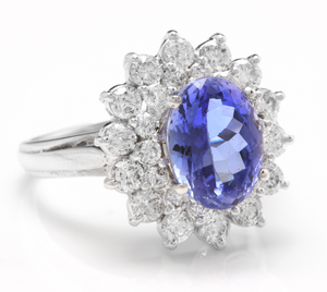 4.20 Carats Natural Very Nice Looking Tanzanite and Diamond 14K Solid White Gold Ring
