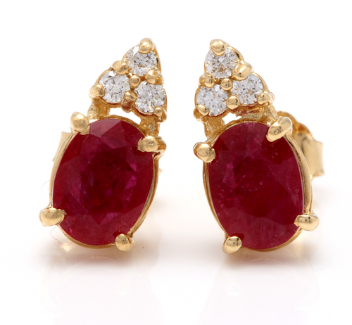 Exquisite 3.16 Carats Natural Untreated Red Ruby and Diamond 14K Solid Yellow Gold Stud Earrings