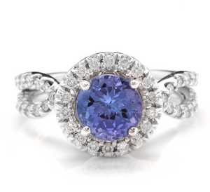 2.45 Carats Natural Very Nice Looking Tanzanite and Diamond 14K Solid White Gold Ring