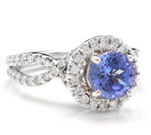 Load image into Gallery viewer, 2.45 Carats Natural Very Nice Looking Tanzanite and Diamond 14K Solid White Gold Ring