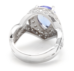 4.80 Carats Natural Very Nice Looking Tanzanite and Diamond 14K Solid White Gold Ring