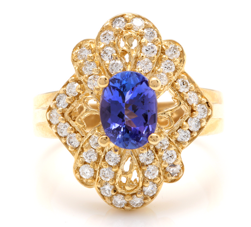 2.25 Carats Natural Very Nice Looking Tanzanite and Diamond 14K Solid Yellow Gold Ring
