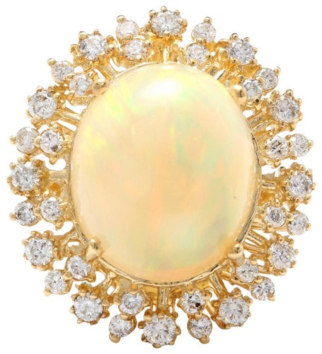8.65 Carats Natural Impressive Ethiopian Opal and Diamond 14K Solid Yellow Gold Ring