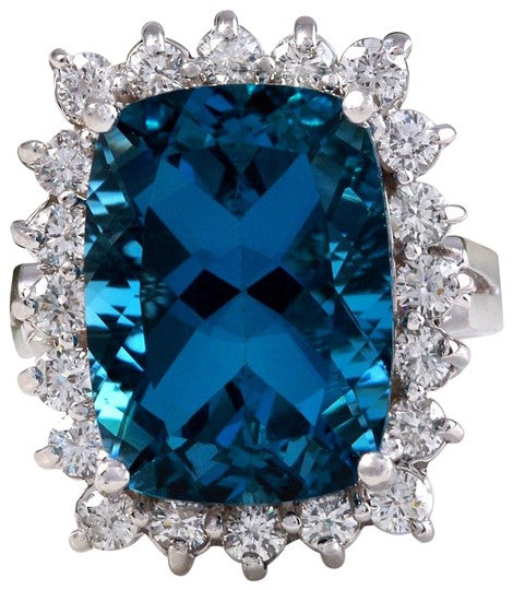 12.90 Carats Natural Impressive LONDON BLUE TOPAZ and Diamond 14K Yellow Gold Ring