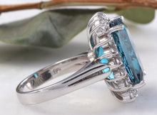 Load image into Gallery viewer, 12.90 Carats Natural Impressive LONDON BLUE TOPAZ and Diamond 14K Yellow Gold Ring