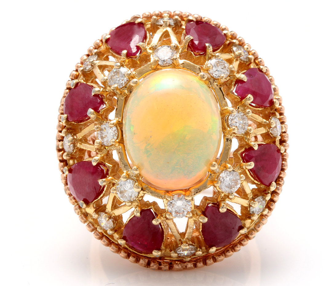 17.40 Carats Natural Impressive Ethiopian Opal, Ruby and Diamond 14K Solid Rose Gold Ring