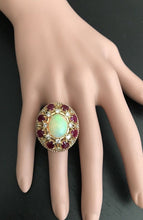 Load image into Gallery viewer, 17.40 Carats Natural Impressive Ethiopian Opal, Ruby and Diamond 14K Solid Rose Gold Ring