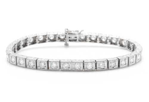 Very Impressive 3.20 Carats Natural Diamond 14K Solid White Gold Bracelet