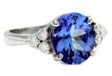 Load image into Gallery viewer, 3.55 Carats Natural Very Nice Looking Tanzanite and Diamond 14K Solid White Gold Ring