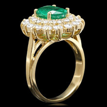 Load image into Gallery viewer, 3.50 Carats Natural Emerald and Diamond 14K Solid Yellow Gold Ring