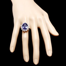 Load image into Gallery viewer, 9.80 Carats Natural Very Nice Looking Tanzanite and Diamond 14K Solid White Gold Ring