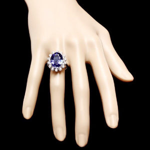 9.80 Carats Natural Very Nice Looking Tanzanite and Diamond 14K Solid White Gold Ring