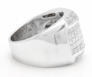 Heavy 5.00 Carats Natural Diamond 14K Solid White Gold Men's Ring
