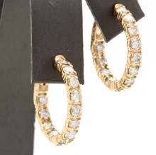 Load image into Gallery viewer, Exquisite 3.50 Carats Natural Diamond 14K Solid Yellow Gold Hoop Earrings