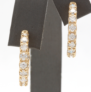 Exquisite 3.25 Carats Natural Diamond 14K Solid Yellow Gold Hoop Earrings