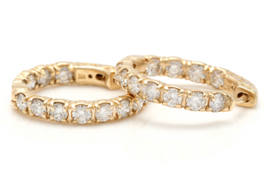 Exquisite 3.50 Carats Natural Diamond 14K Solid Yellow Gold Hoop Earrings