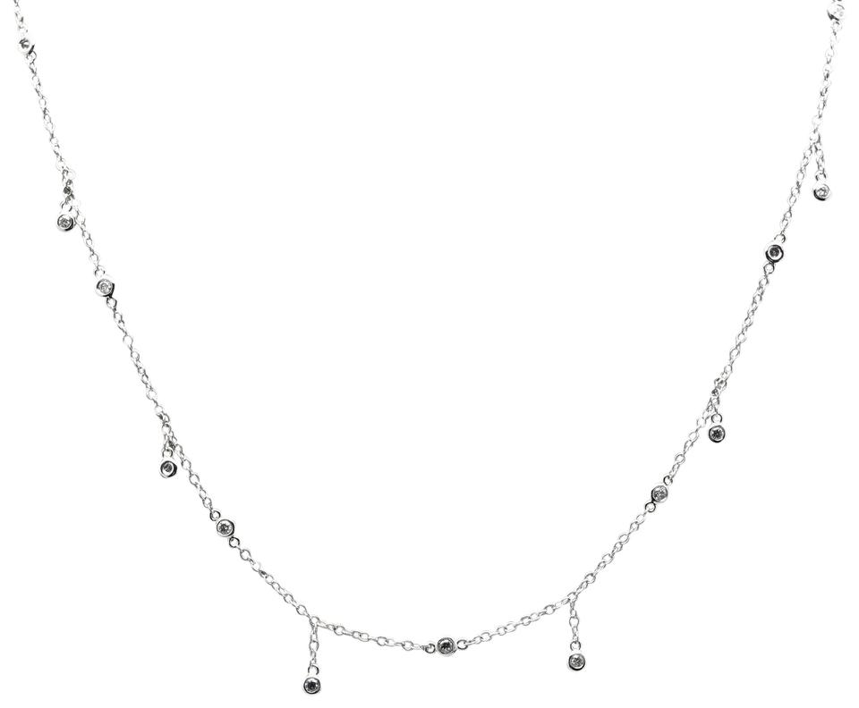 Splendid 14k Solid White Gold Diamond Chain Necklace