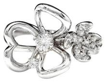Load image into Gallery viewer, Splendid Natural Diamond 14K Solid White Gold Flower Ring