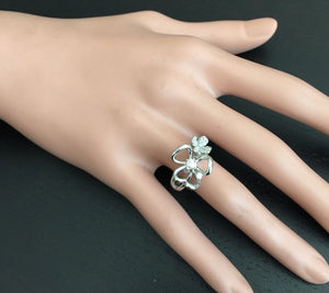 Splendid Natural Diamond 14K Solid White Gold Flower Ring